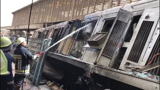 動画:カイロ中央駅で列車衝突・炎上、20人死亡