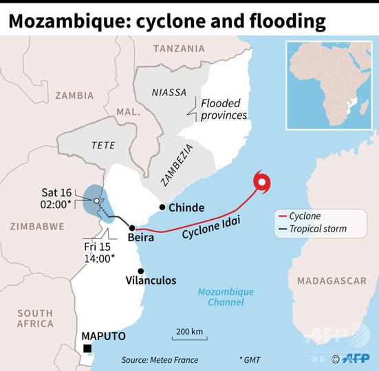 アフリカ南東部の豪雨災害、犠牲者126人に モザンビークにはサイクロン襲来