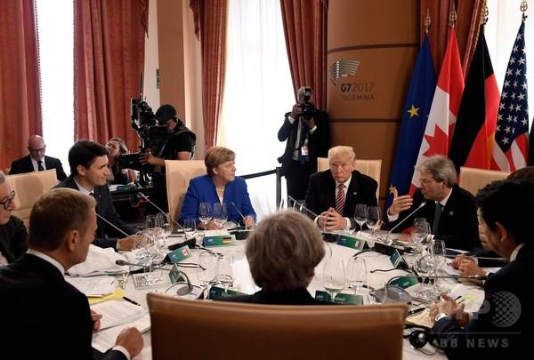 G7サミット開幕、各国首脳が一堂に 伊タオルミナ