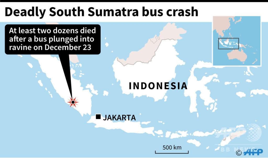 バスが渓谷に転落、少なくとも27人死亡 インドネシア