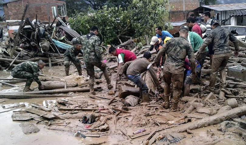 コロンビアで大規模な地滑り、206人死亡 豪雨で河川が増水