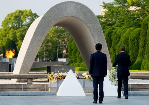 オバマ米大統領、広島・平和記念公園に到着 花輪ささげる