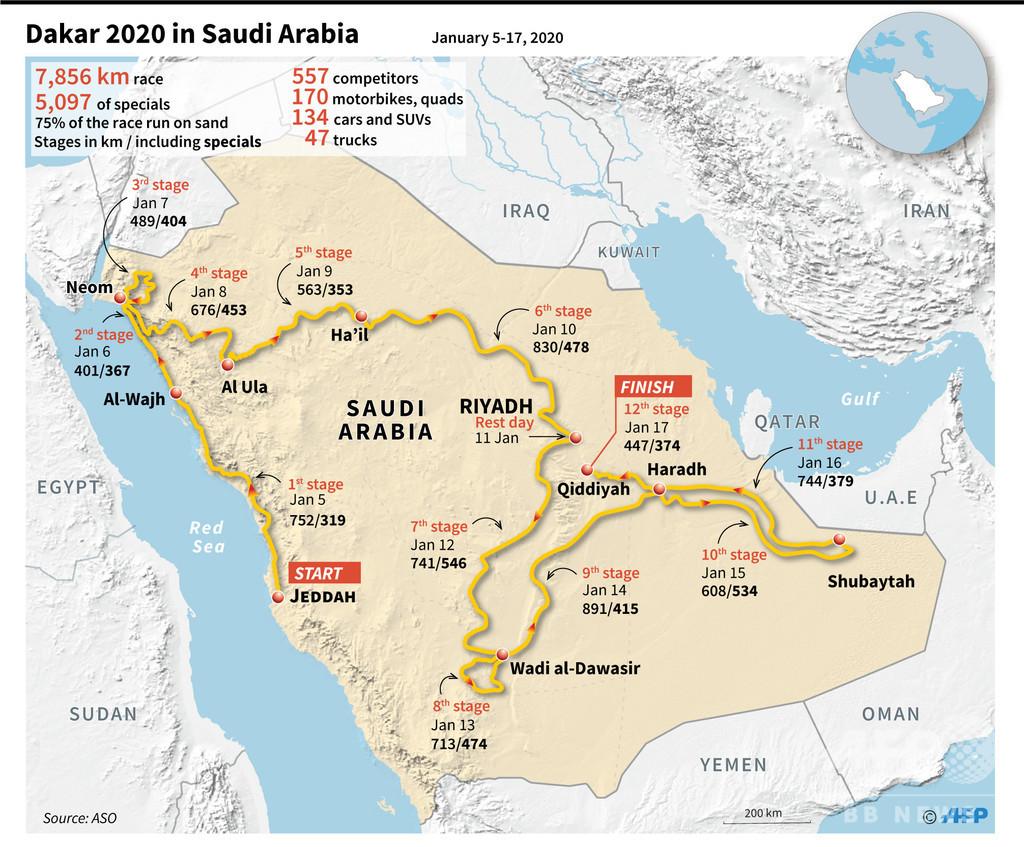 サウジアラビア開催のダカールラリー、コースを発表