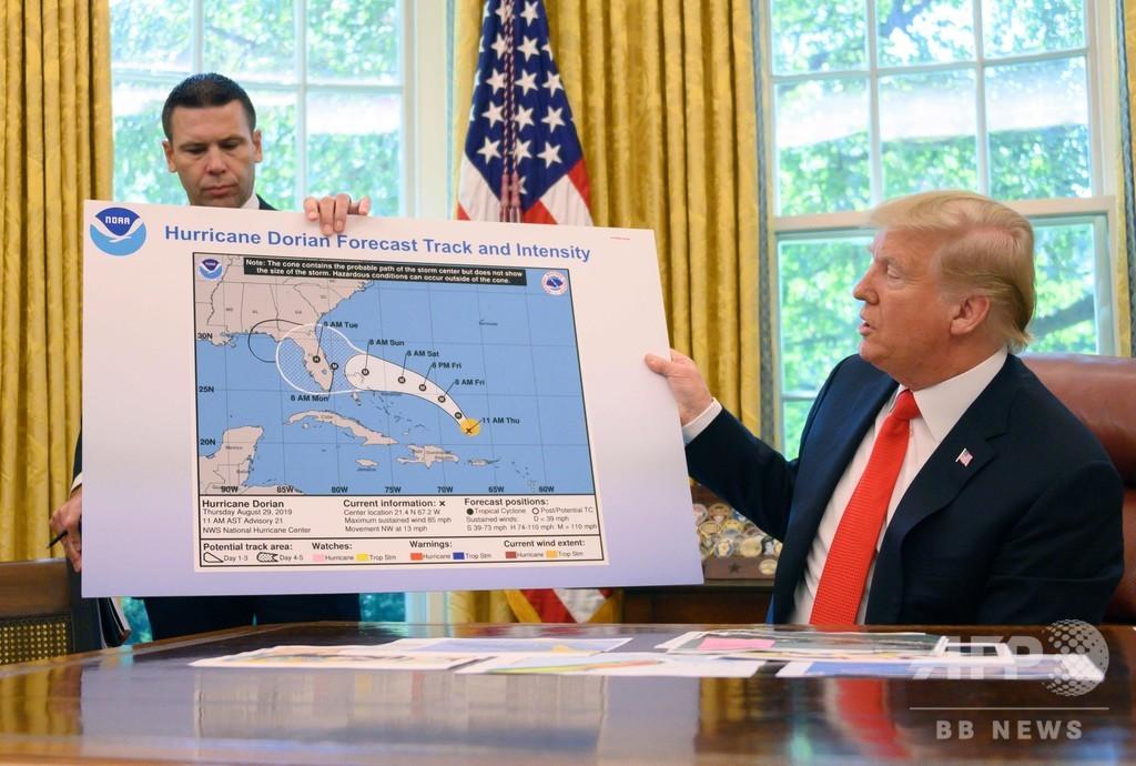 トランプ氏会見のハリケーン進路予想図に書き足し?
