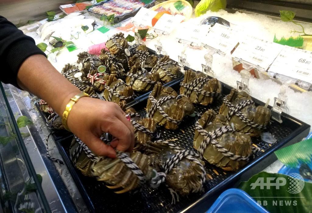 最高級の上海ガニ、スーパーの商品の大半が偽物 カルフールなど