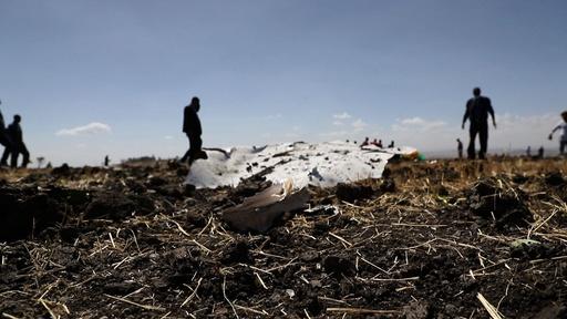 動画:エチオピア航空機墜落で157人死亡、ブラックボックス二つも回収 現場の映像