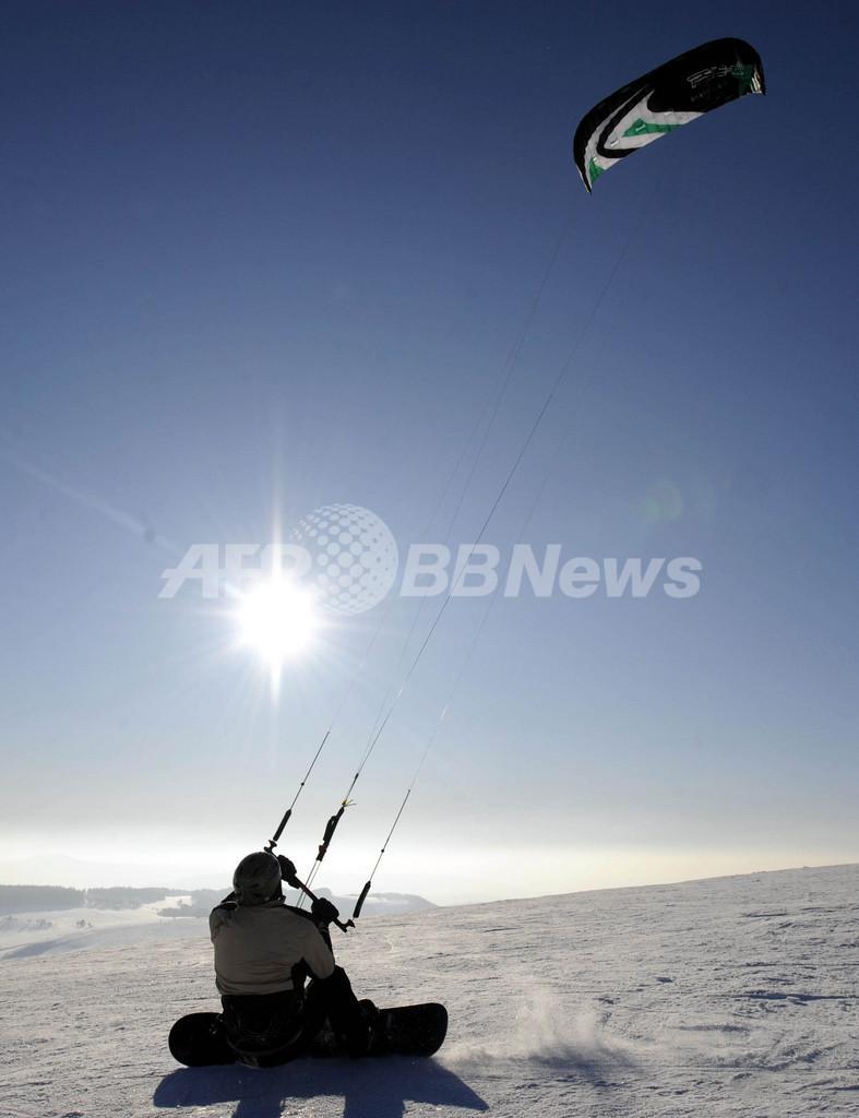 スノーカイトの人気スポット、ドイツのヴァッサークッペ山