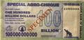 年間インフレ率220万%のジンバブエ、「1000億ドル札」が登場