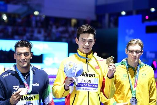孫楊がホートンに雪辱、世界水泳400m自由形で3連覇