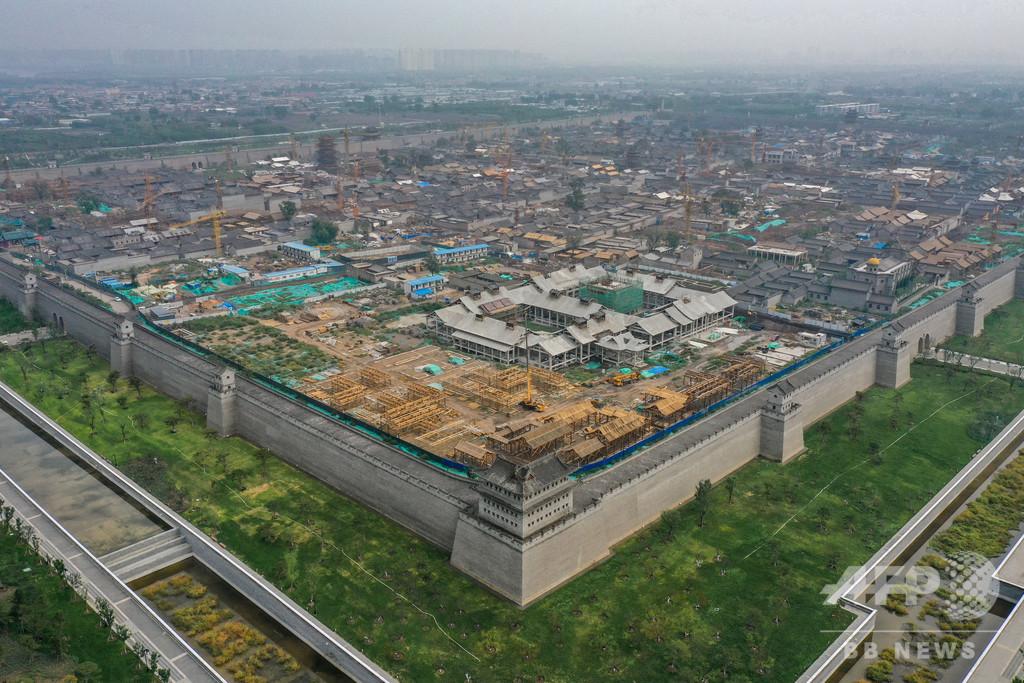 空から見た修復中の古城 山西省