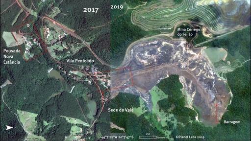 動画:ブラジル鉱山ダム決壊、衛星画像で見る被害の大きさ