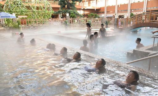 【今日の1枚】のんびりゆったり、北朝鮮の温泉レジャー施設