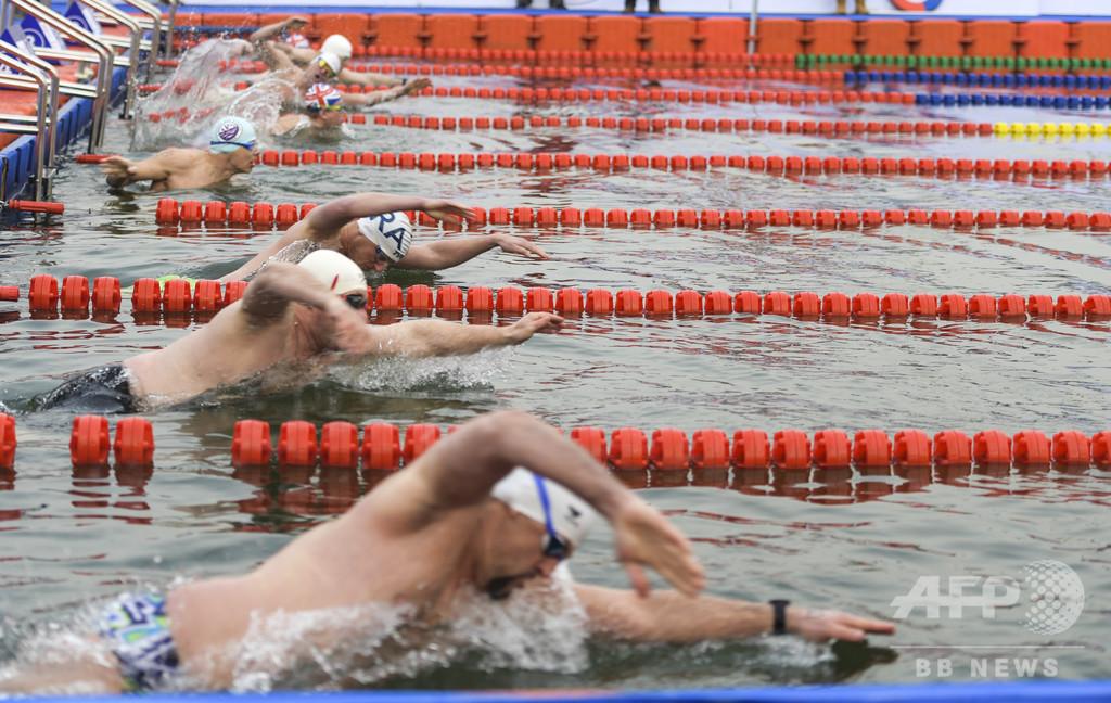 寒さなんのその! 中国・済南で「国際寒中水泳大会」 30か国・地域から1100以上が参加