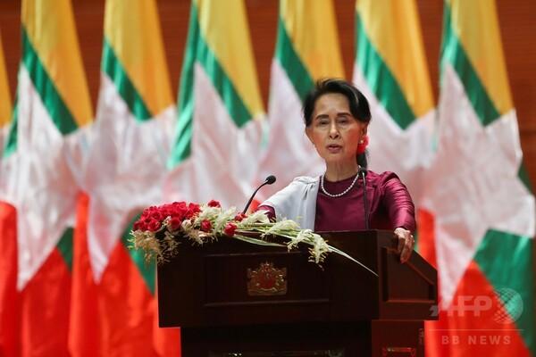 スー・チー氏、ロヒンギャ問題で国民向け演説 難民の帰還受け入れに言及