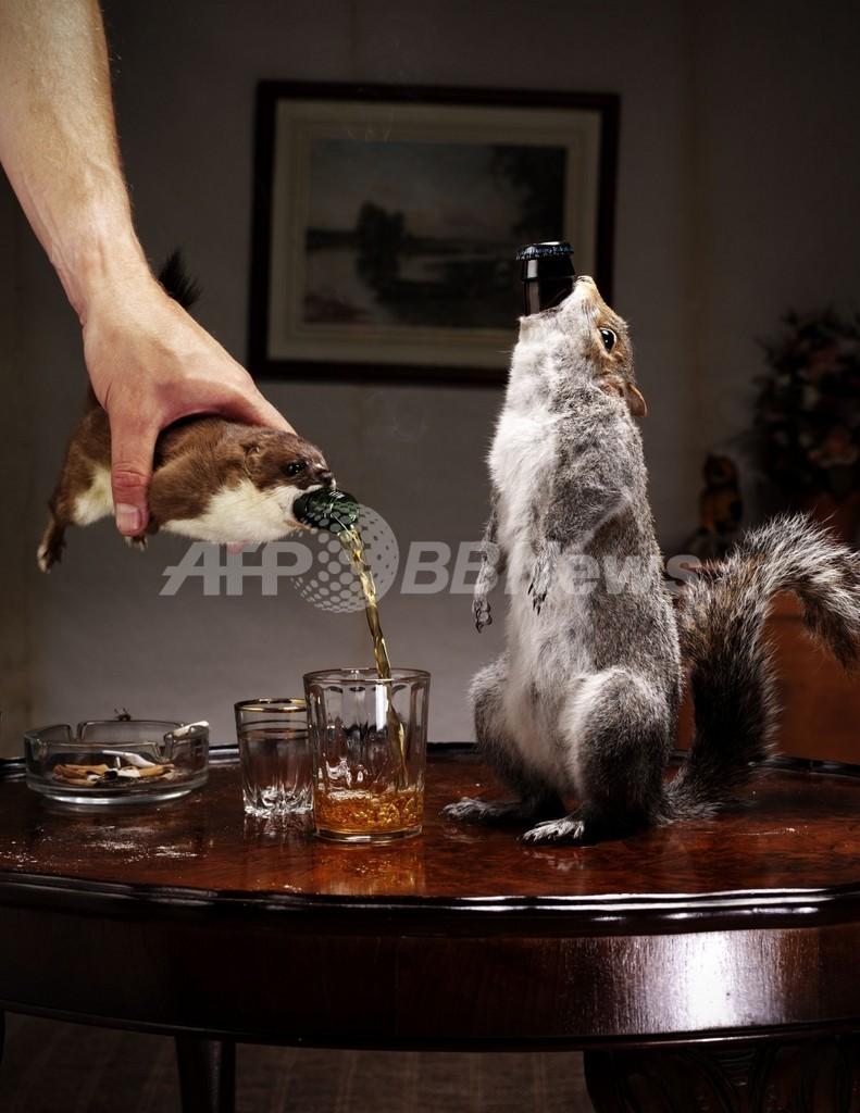 「小動物のはく製」ホルダー入りビール発売、アルコール度数55%!