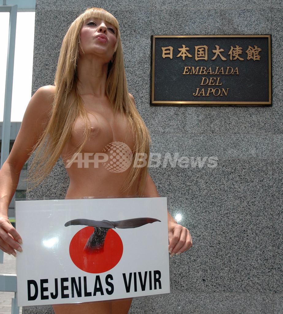 元プレイメート、チリで日本の捕鯨に抗議