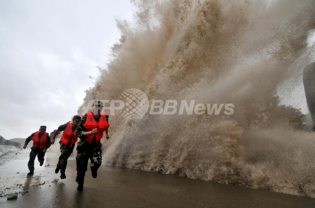 台風23号、中国東部に上陸 70万人超が避難