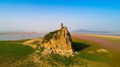 ハ陽湖の水位が下がり草原に囲まれる湖心の島 中国・江西