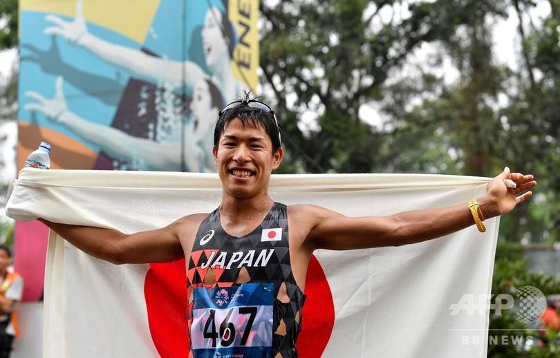 酷暑と大気汚染の中で男子50km競歩、勝木が金獲得 アジア大会