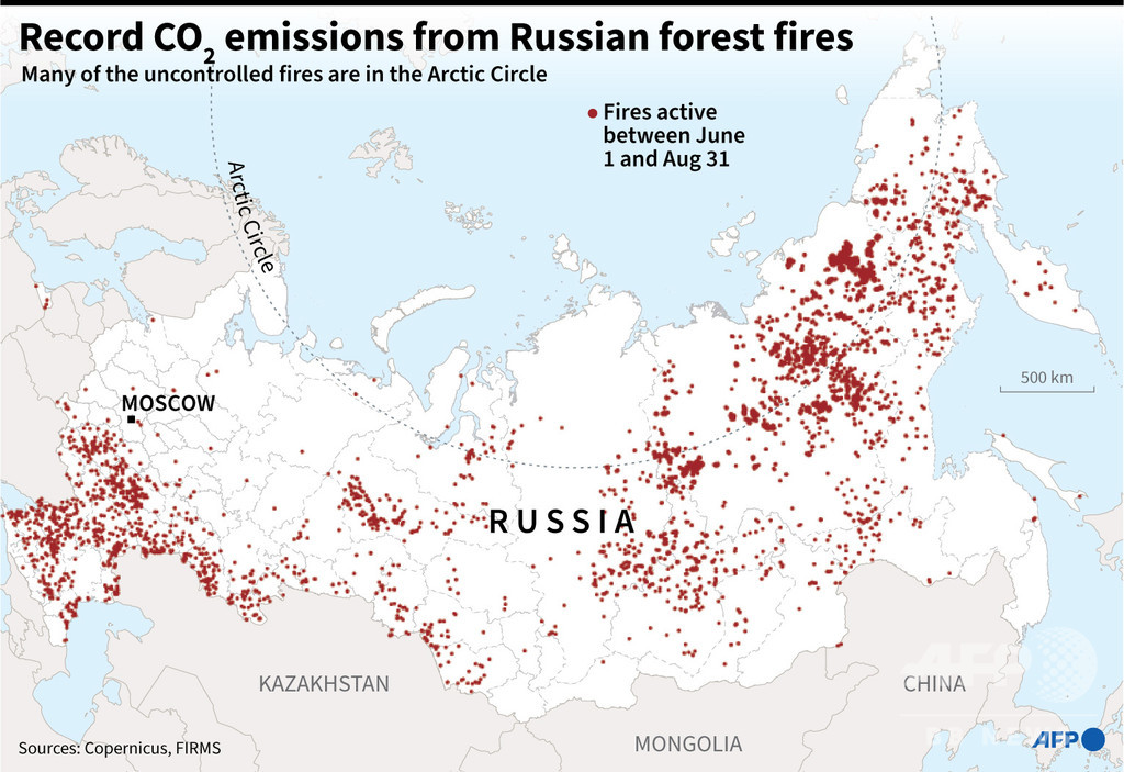 北極圏のCO2排出量が過去最多に ロシアで続く森林火災が影響