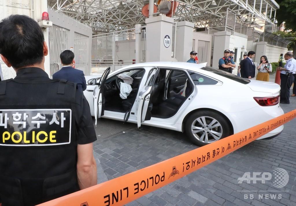 在韓米大使館に車が突っ込む、男を逮捕 カセットボンベ積載