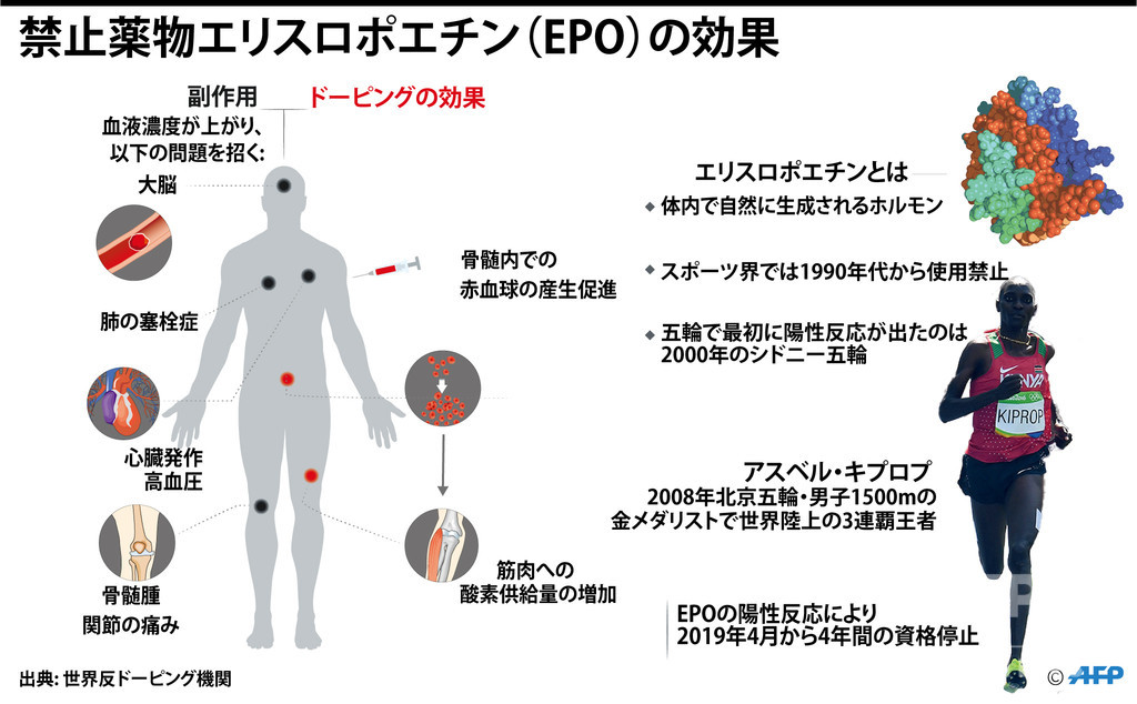 【図解】禁止薬物エリスロポエチン(EPO)のドーピング効果と副作用