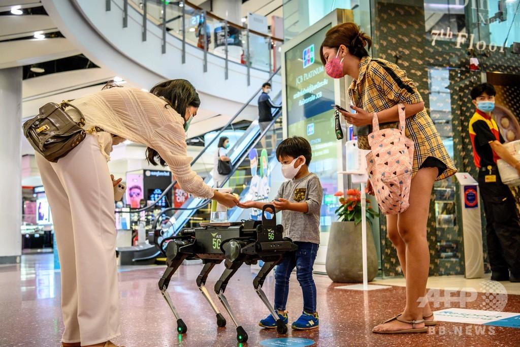 消毒液配るロボット犬が注目の的、タイ商業施設