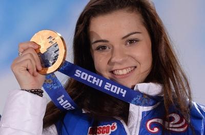女子フィギュアスケートのメダル授与式、ソチ五輪