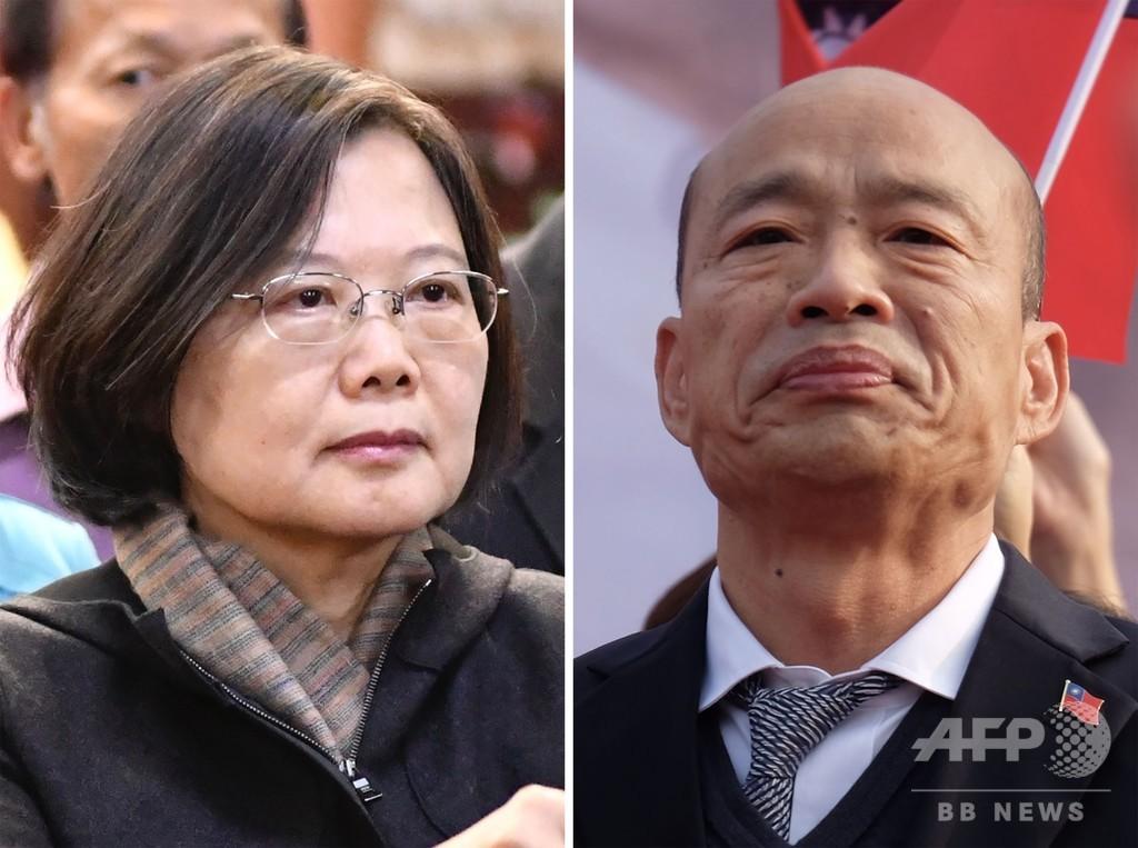台湾総統選、投票始まる 民主主義アピールする現職蔡氏が優勢