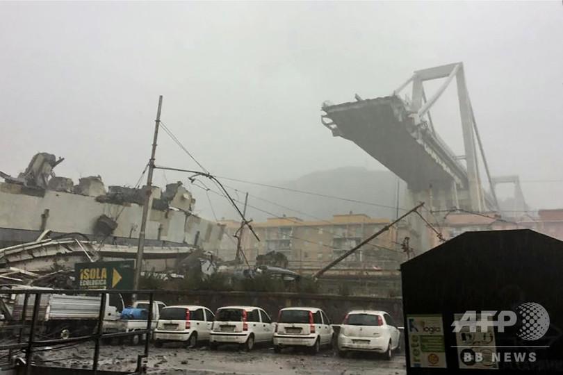伊ジェノバで高速道の橋崩落、約30人死亡
