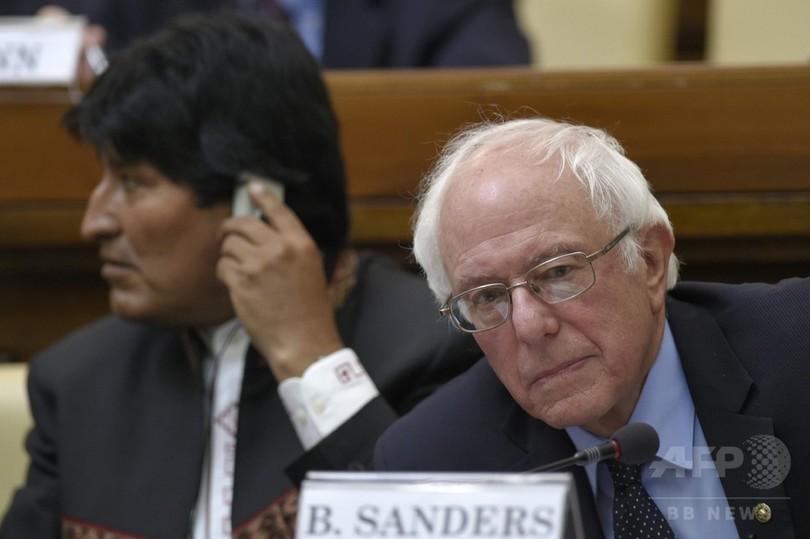 米民主党サンダース氏、ローマ法王と面会 NY州予備選控え