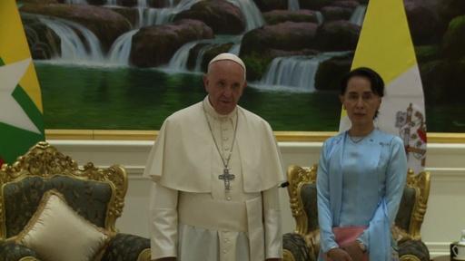 動画:フランシスコ法王、ミャンマーで演説 ロヒンギャには直接言及せず