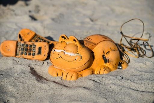 浜辺に続々漂着する「猫のガーフィールド」の電話機、謎の一部解明 フランス