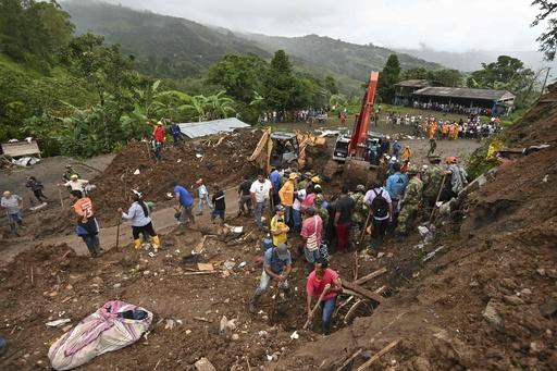 土砂崩れで17人死亡、13人行方不明 コロンビア南西部
