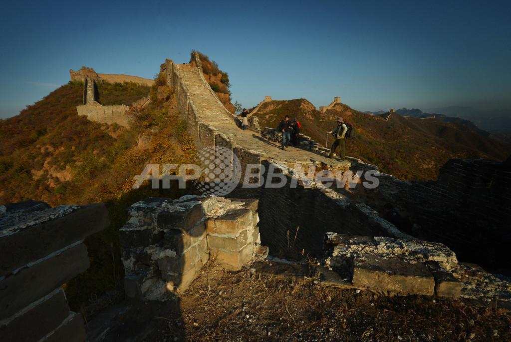 万里の長城から眺める秋の夕暮れ、中国