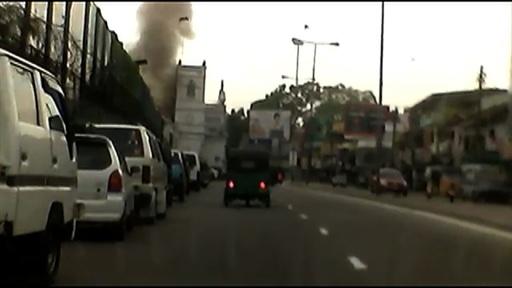 動画:スリランカ連続爆発、ドライブレコーダーに映った爆発の瞬間 政府は非常事態を宣言