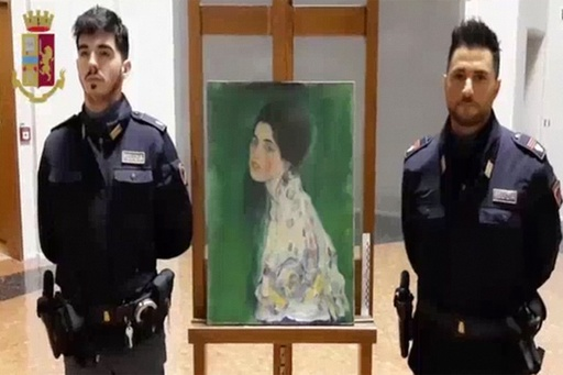 壁から発見された絵画、盗まれたクリムトの作品と確認 伊美術館