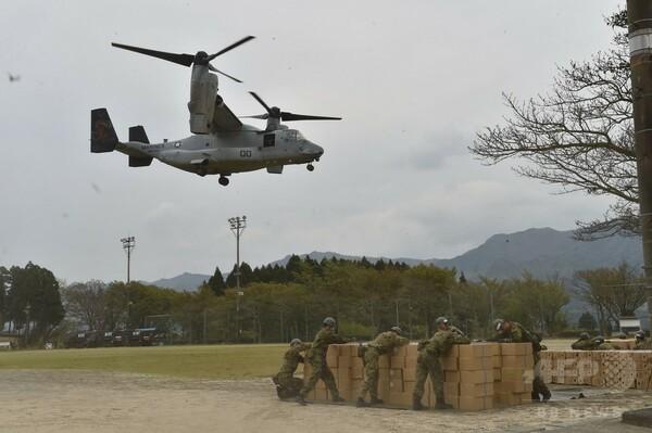 オスプレイが被災地入り 熊本地震で物資輸送支援