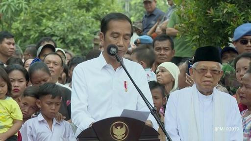 動画:インドネシア大統領選、現職ジョコ氏が勝利、2期目へ 住宅街で勝利演説