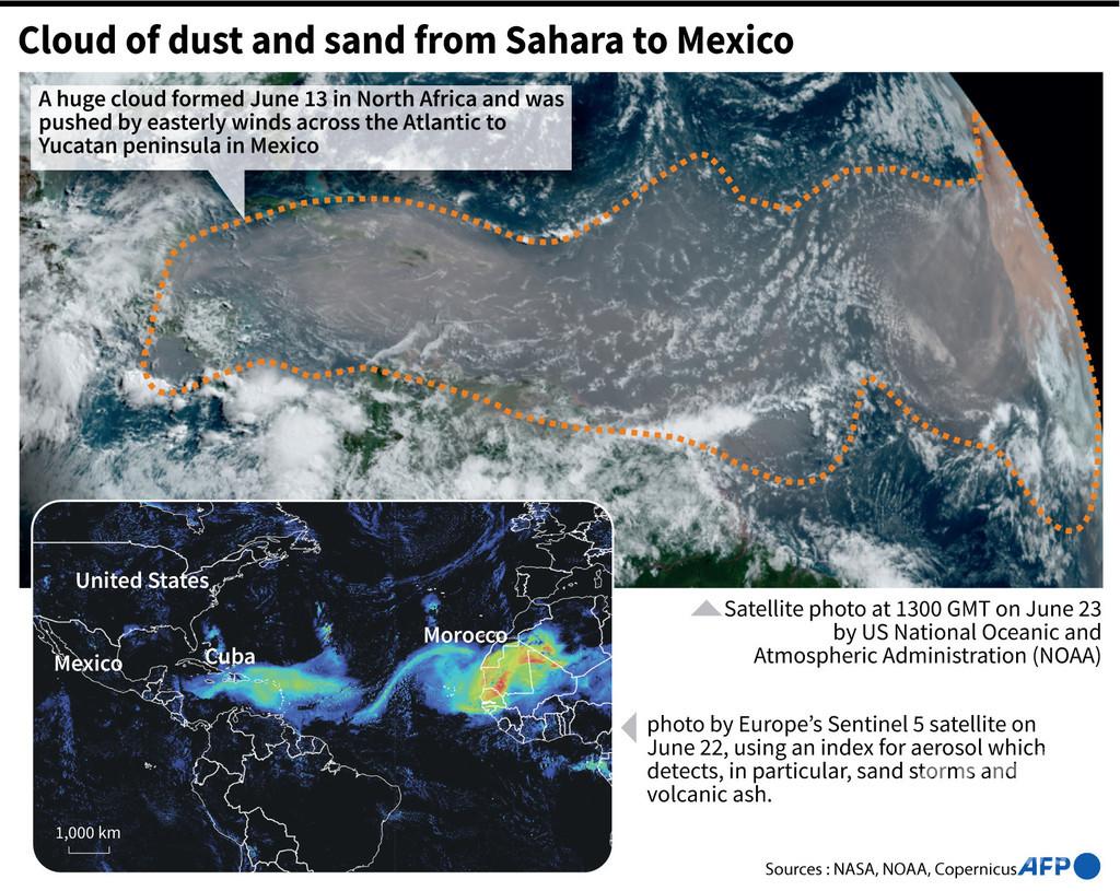 サハラ砂漠から巨大砂雲が飛来、カリブ海上空覆う 米フロリダにも到達