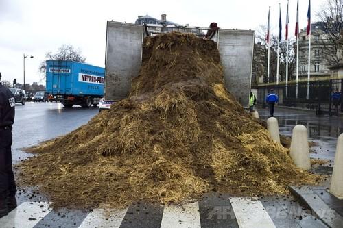 議事堂前に肥やしの山を投棄、政...