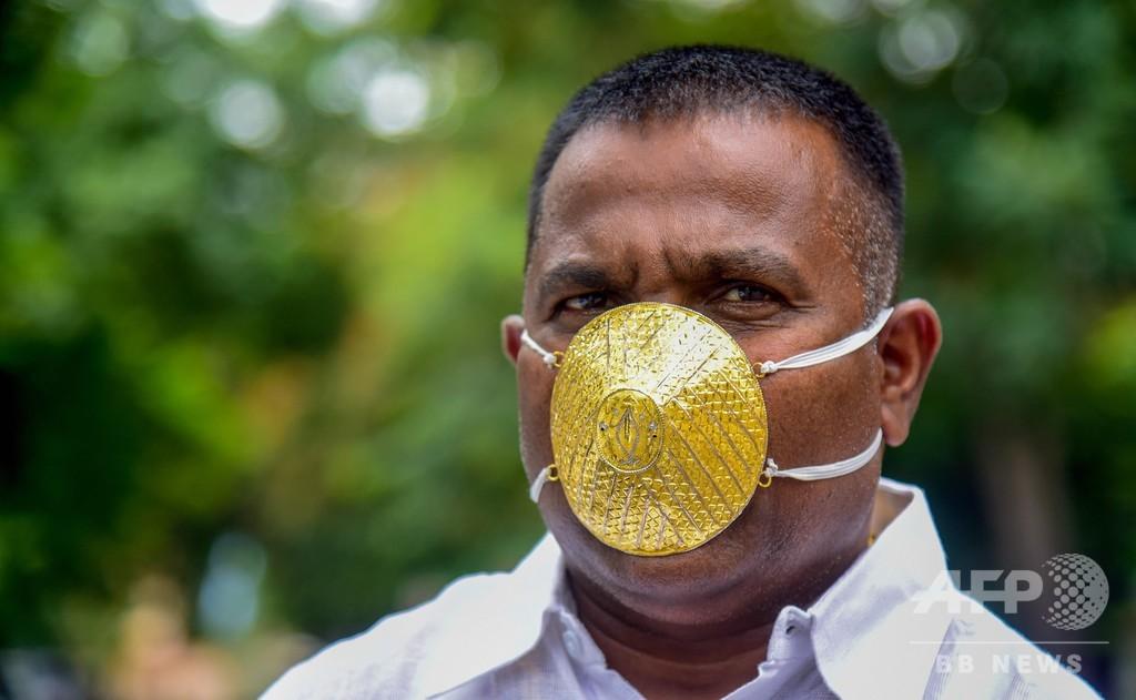 インドの実業家、コロナ対策に金のマスク 値段は43万円