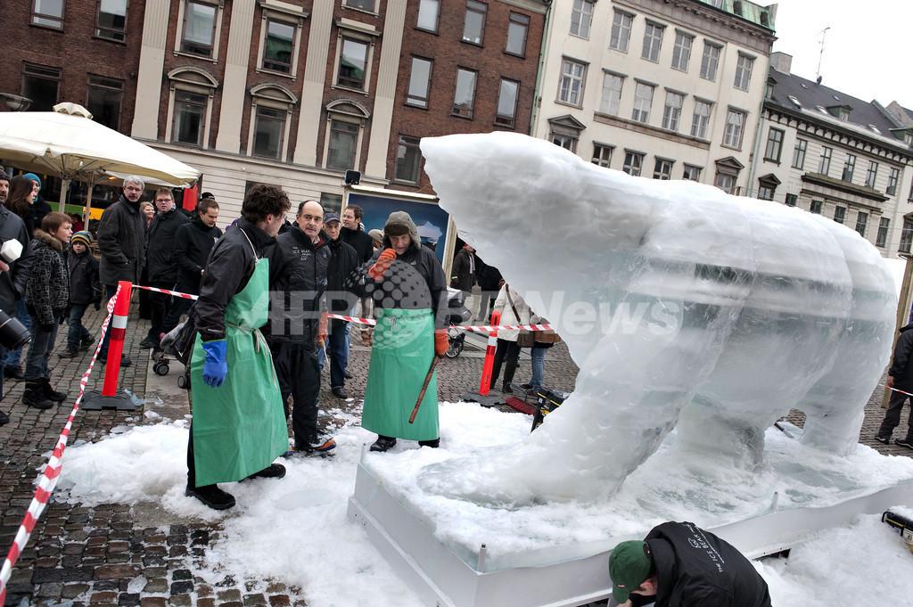 溶ける氷のホッキョクグマ像、温暖化問題をアピール COP15