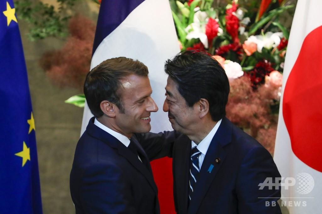 仏大統領が来日、G20控え 首脳会談で強固な日仏関係強調