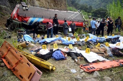 グアテマラで崖からバスが転落、43人死亡
