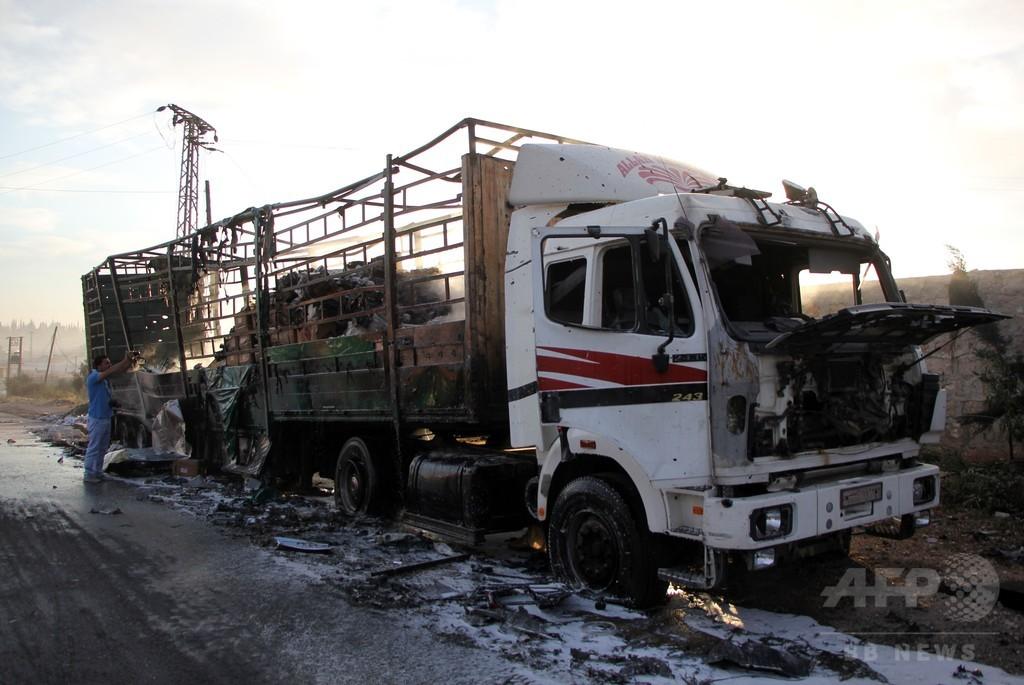 国連、シリアでの人道支援物資輸送を一時停止 車列攻撃受け