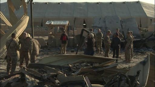 動画:イランのミサイル攻撃「生き延びたのは奇跡」、駐イラク米軍司令官語る 攻撃後の基地内映像