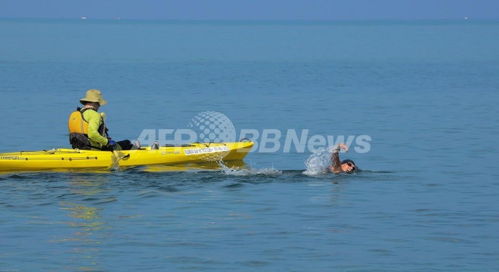 フロリダ海峡横断泳に挑んだ豪女性、クラゲに刺され挑戦を断念