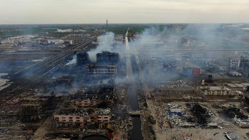 動画:中国工場爆発、ドローンで撮影した空撮映像