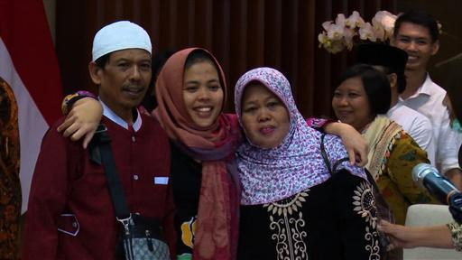 動画:金正男氏殺害事件の元被告女性がインドネシアに帰国